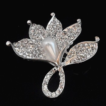 Silver Tone Clear Crystals Big Flower Pin Brooch Hot Selling Luxury Wedding Broaches